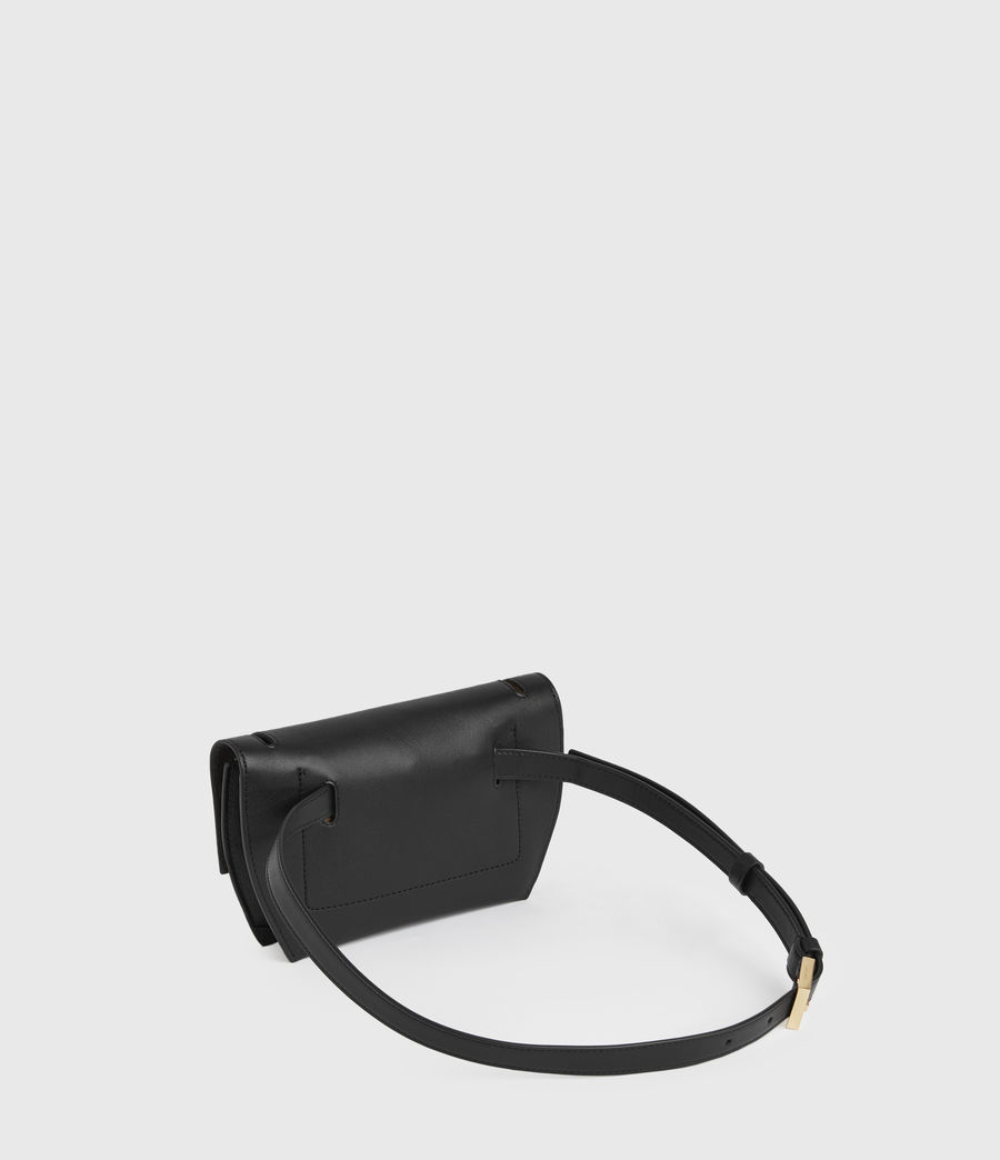 Women's Corbet Leather Crossbody Bumbag (black) - Image 6