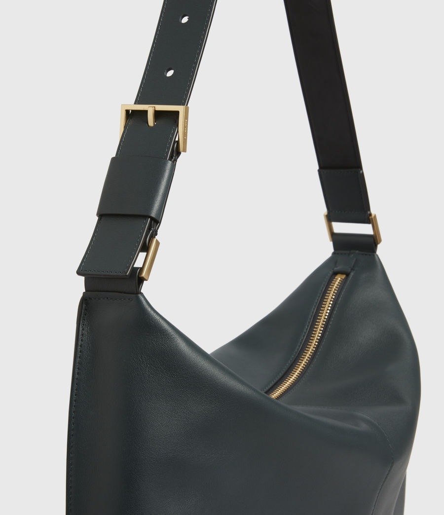 Womens Edbury Leather Shoulder Bag (dark_green) - Image 6
