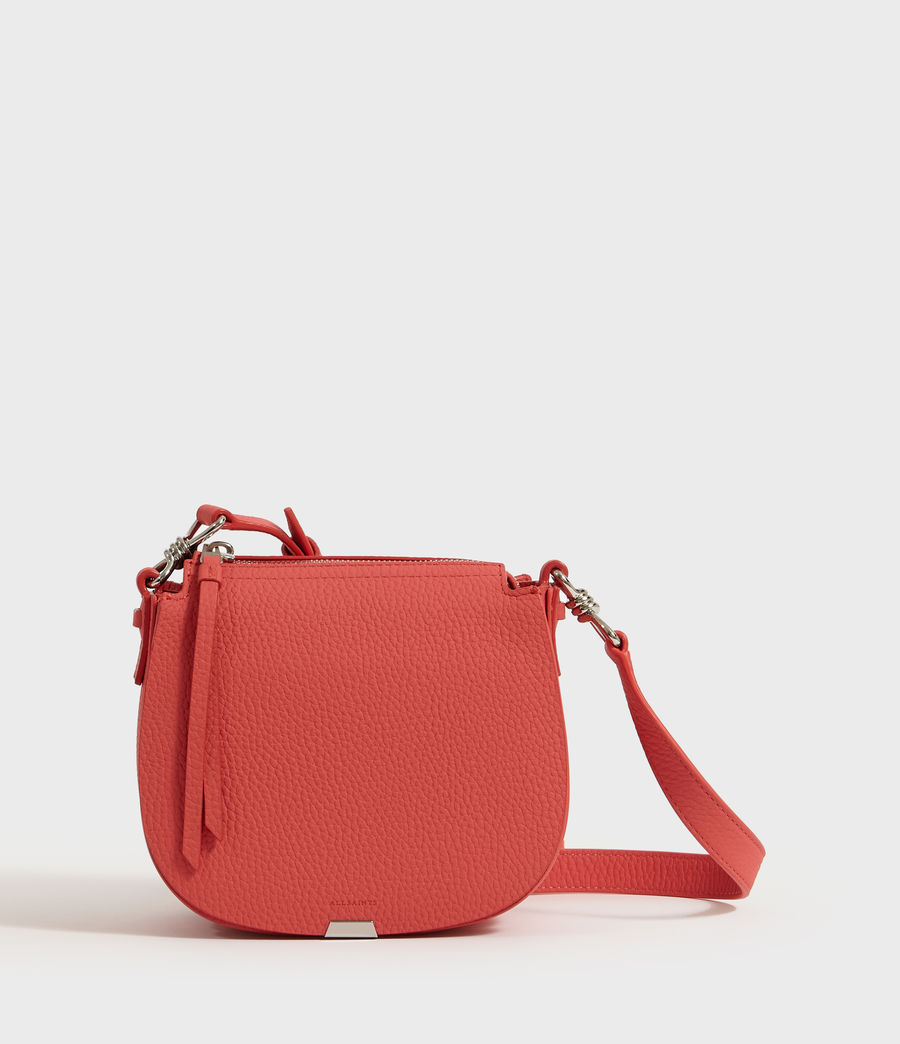 Women's Captain Lea Leather Small Round Crossbody Bag (coral_pink) - Image 1