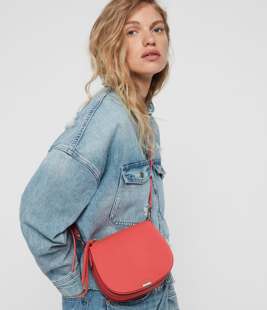 Women's Captain Lea Leather Small Round Crossbody Bag (coral_pink) - Image 2