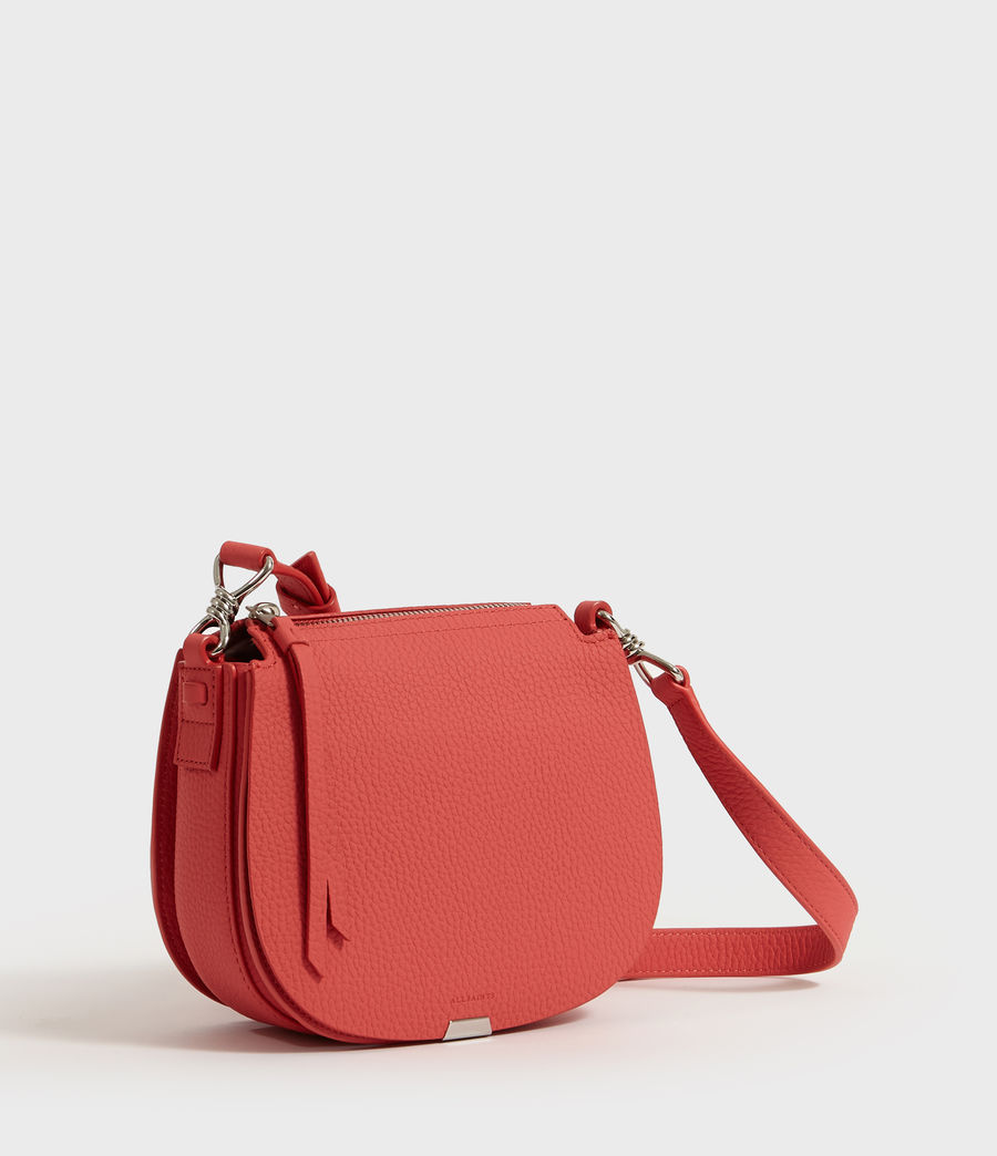 Women's Captain Lea Leather Small Round Crossbody Bag (coral_pink) - Image 3