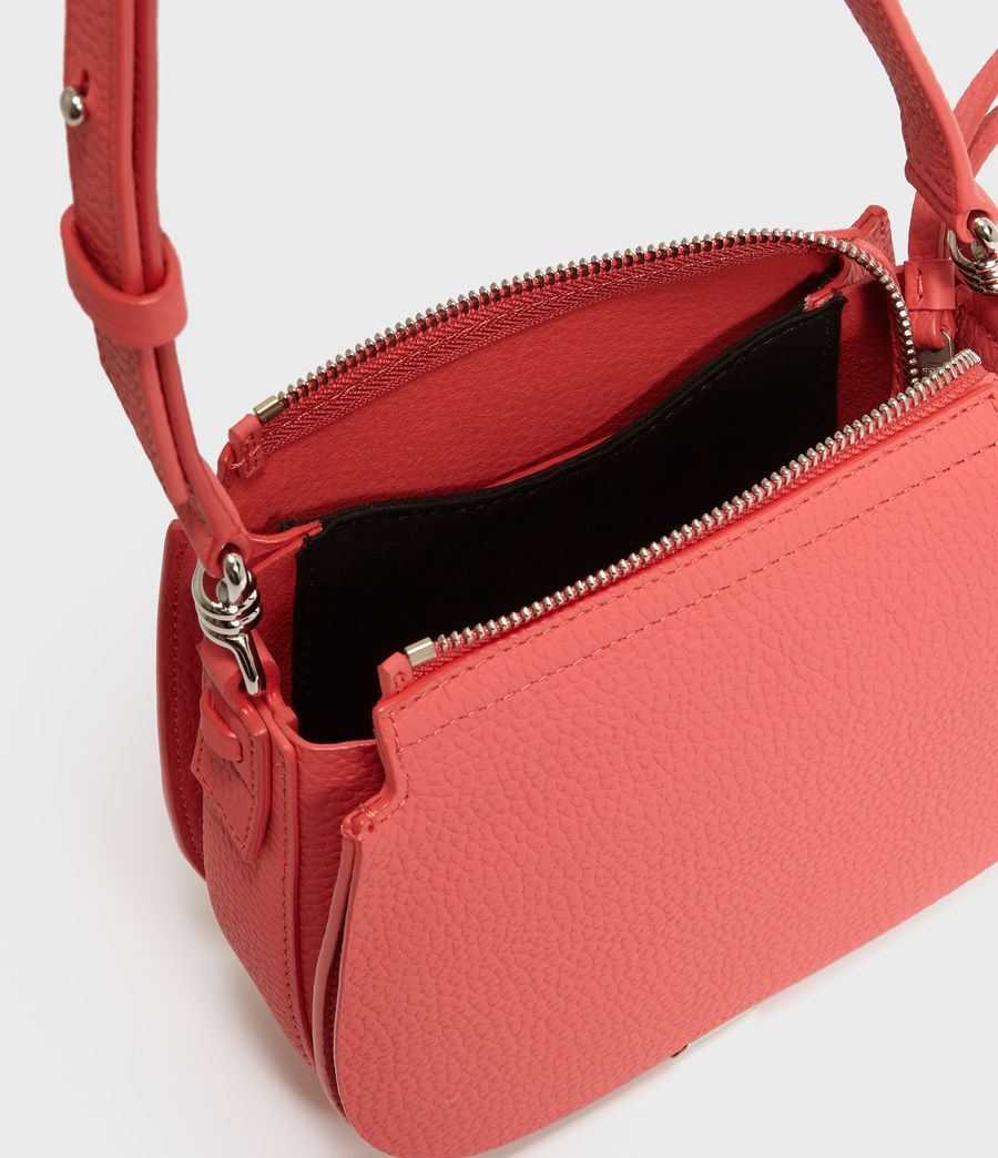 Women's Captain Lea Leather Small Round Crossbody Bag (coral_pink) - Image 4