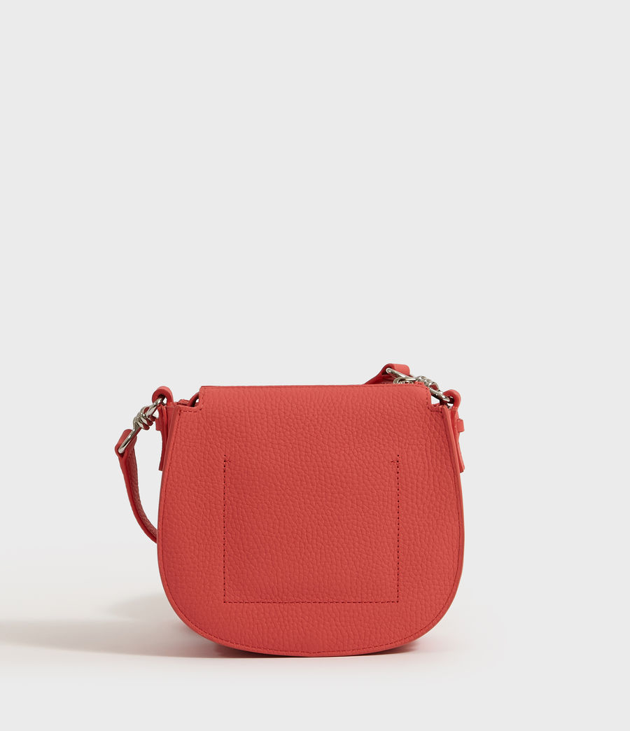 Women's Captain Lea Leather Small Round Crossbody Bag (coral_pink) - Image 7