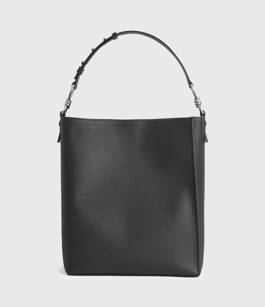 Damen Captain Leather North South Tote Bag (black) - Image 1