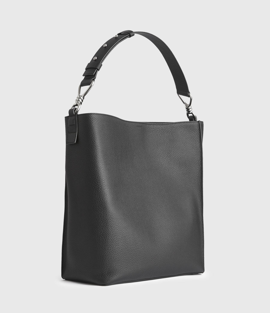 Damen Captain Leather North South Tote Bag (black) - Image 3