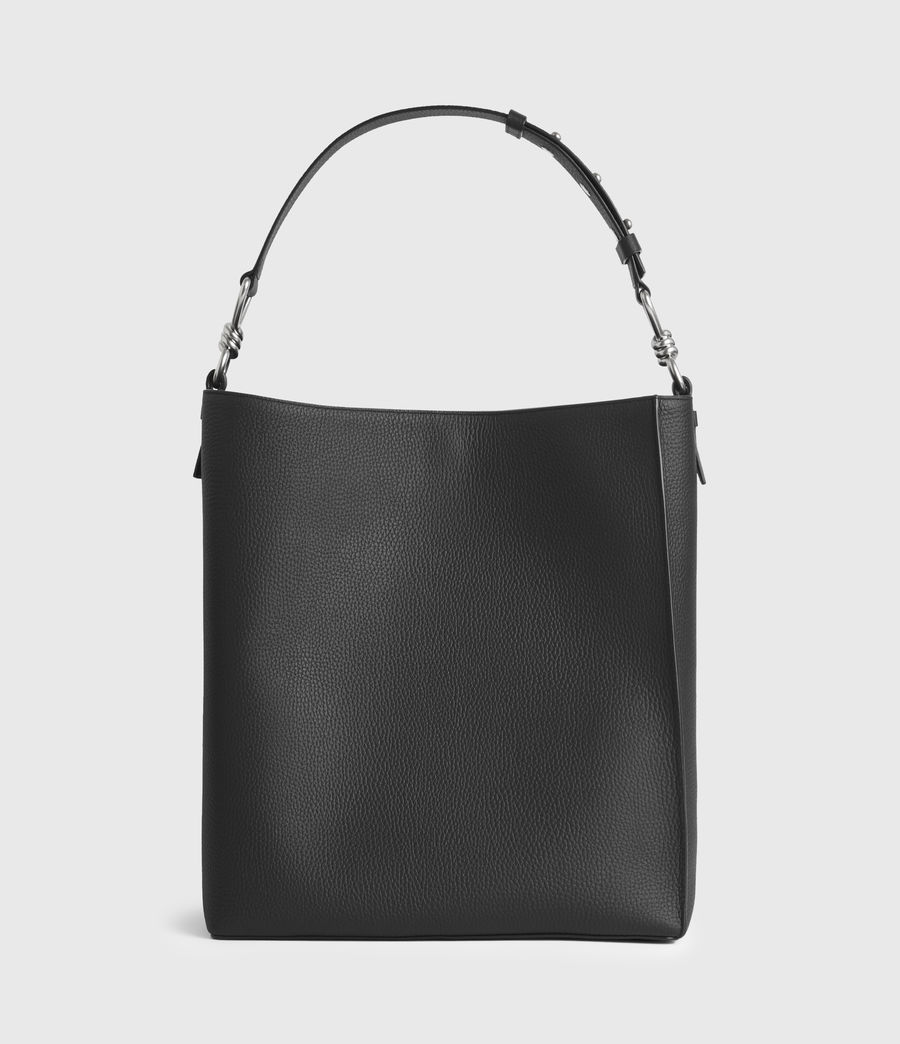 Damen Captain Leather North South Tote Bag (black) - Image 5