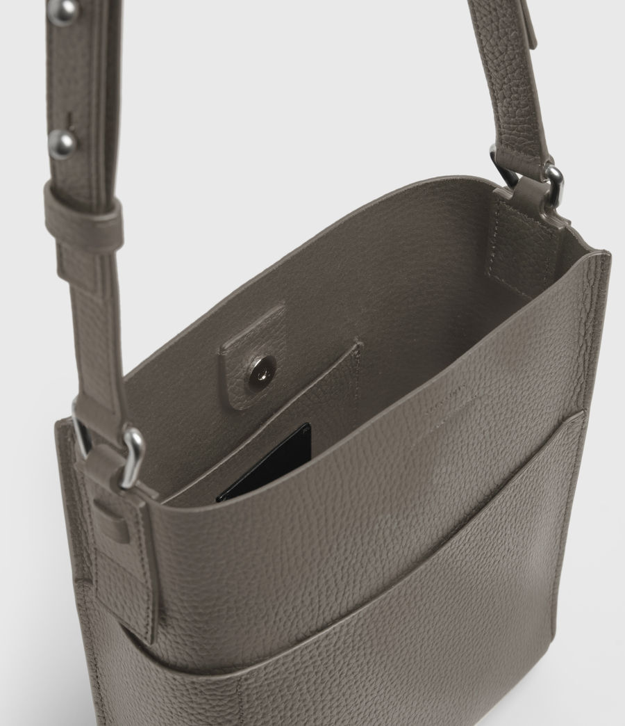 Women's Adelina Small North South Leather Tote Bag (storm_grey) - Image 3