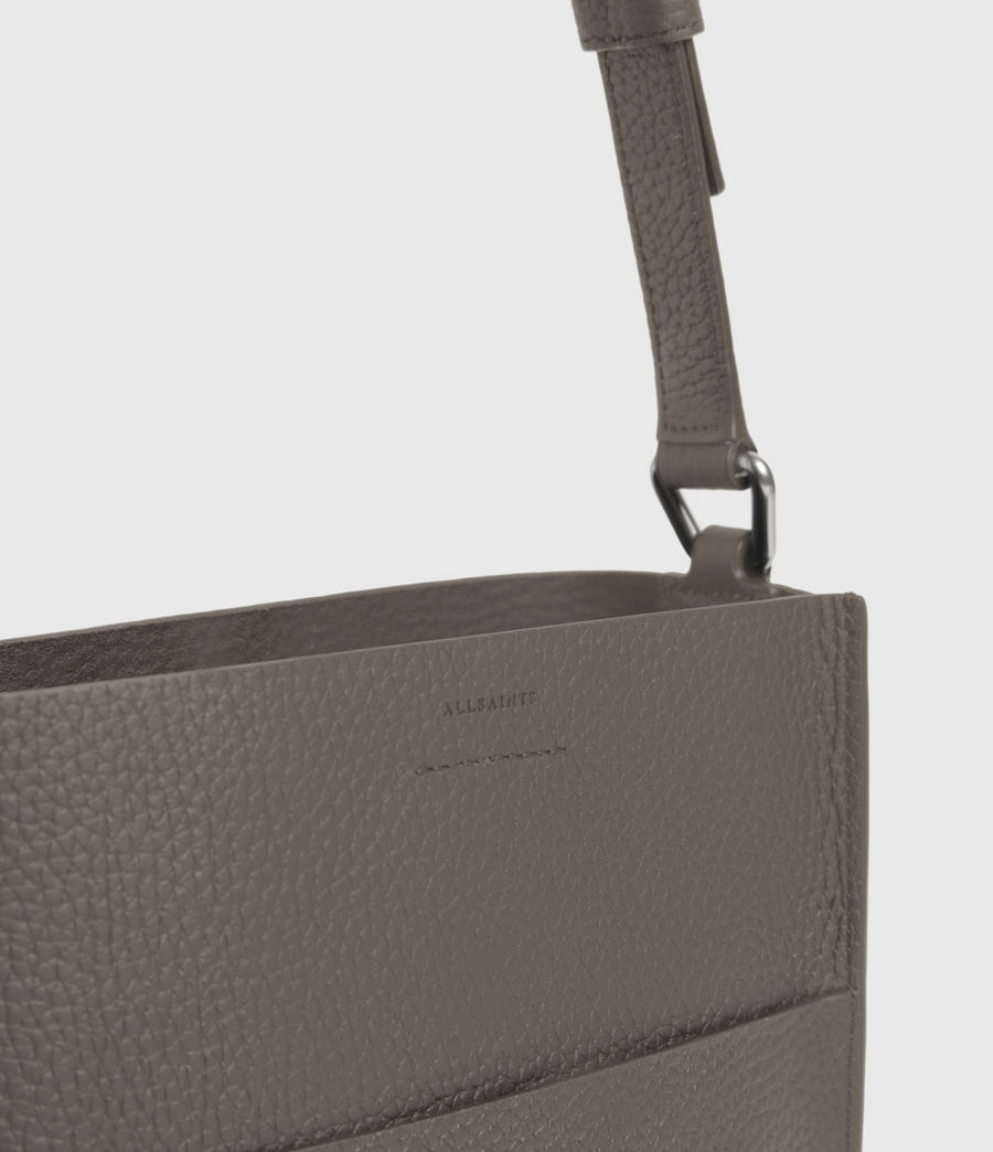 Women's Adelina Small North South Leather Tote Bag (storm_grey) - Image 4