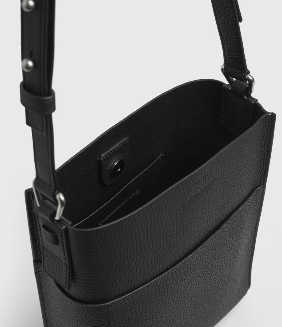 Mujer Adelina Small Leather North South Tote Bag (black) - Image 3