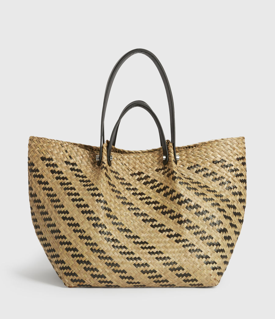 Womens Allington East West Straw Tote Bag (natural_black) - Image 1