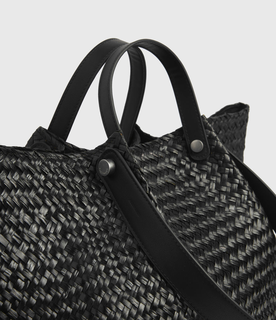 Women's Allington East West Straw Tote Bag (black) - Image 3