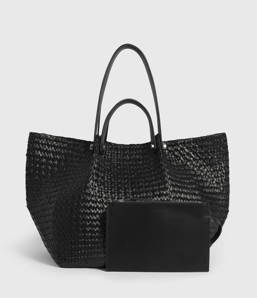 Women's Allington East West Straw Tote Bag (black) - Image 4