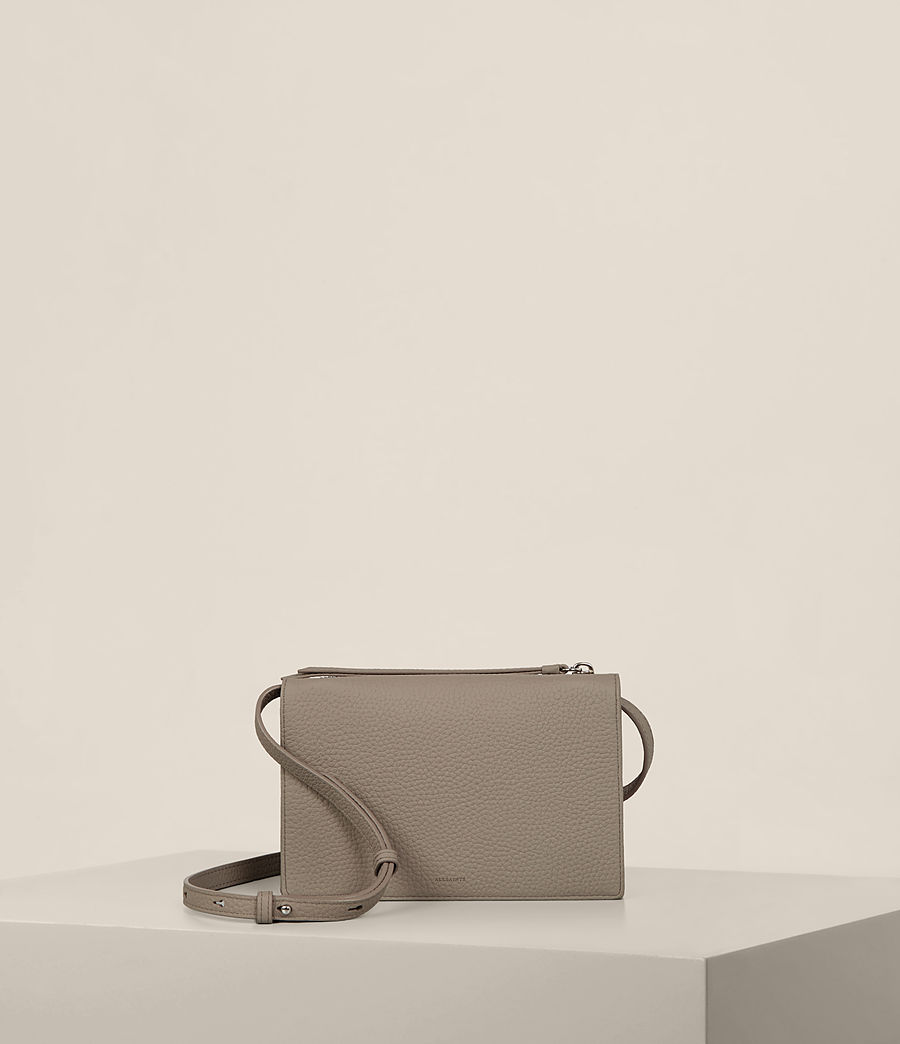 Women's Fetch Leather Wallet Crossbody (taupe_grey) - Image 1