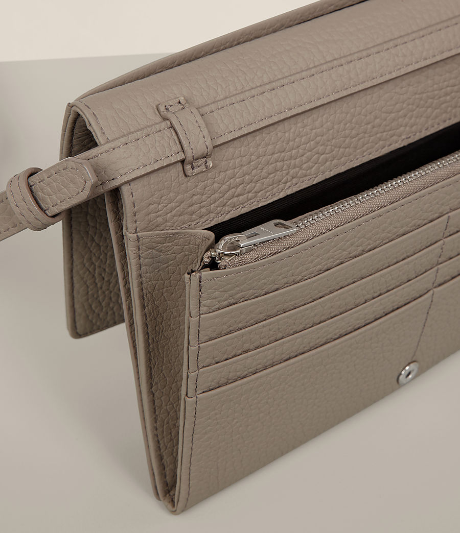 Women's Fetch Leather Wallet Crossbody (taupe_grey) - Image 3