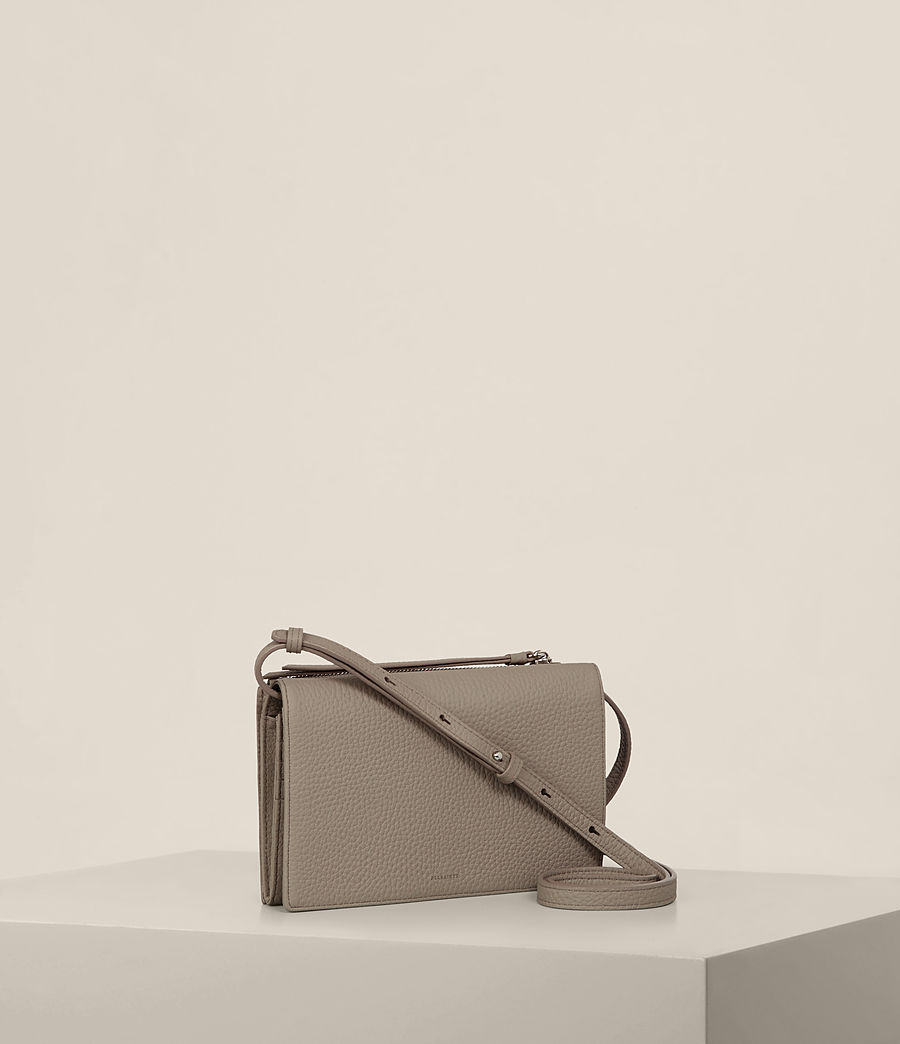 Women's Fetch Leather Wallet Crossbody (taupe_grey) - Image 4