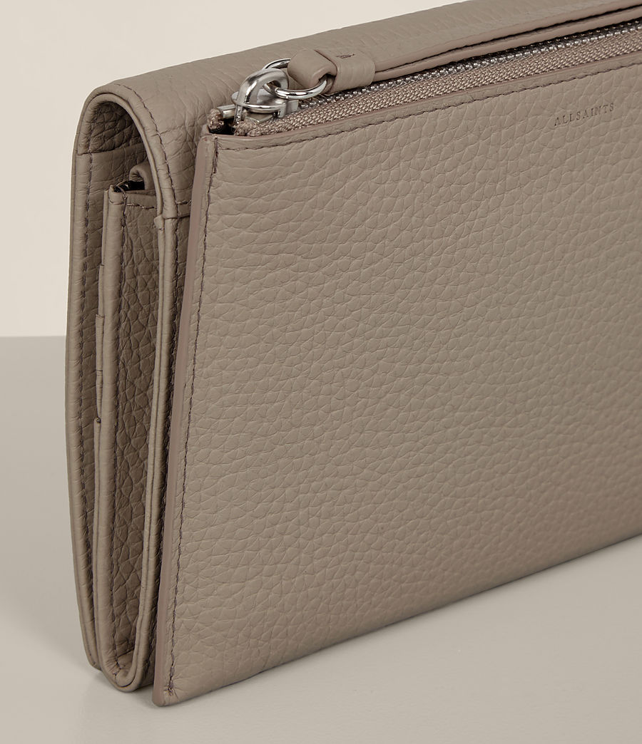 Women's Fetch Leather Wallet Crossbody (taupe_grey) - Image 6