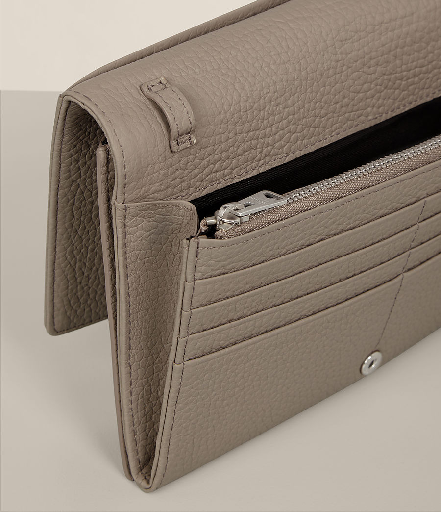 Women's Fetch Leather Wallet Crossbody (taupe_grey) - Image 7