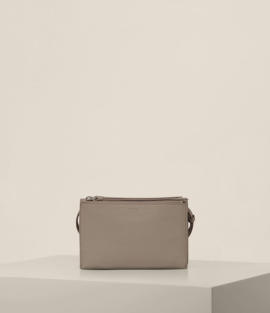 Women's Fetch Leather Wallet Crossbody (taupe_grey) - Image 8