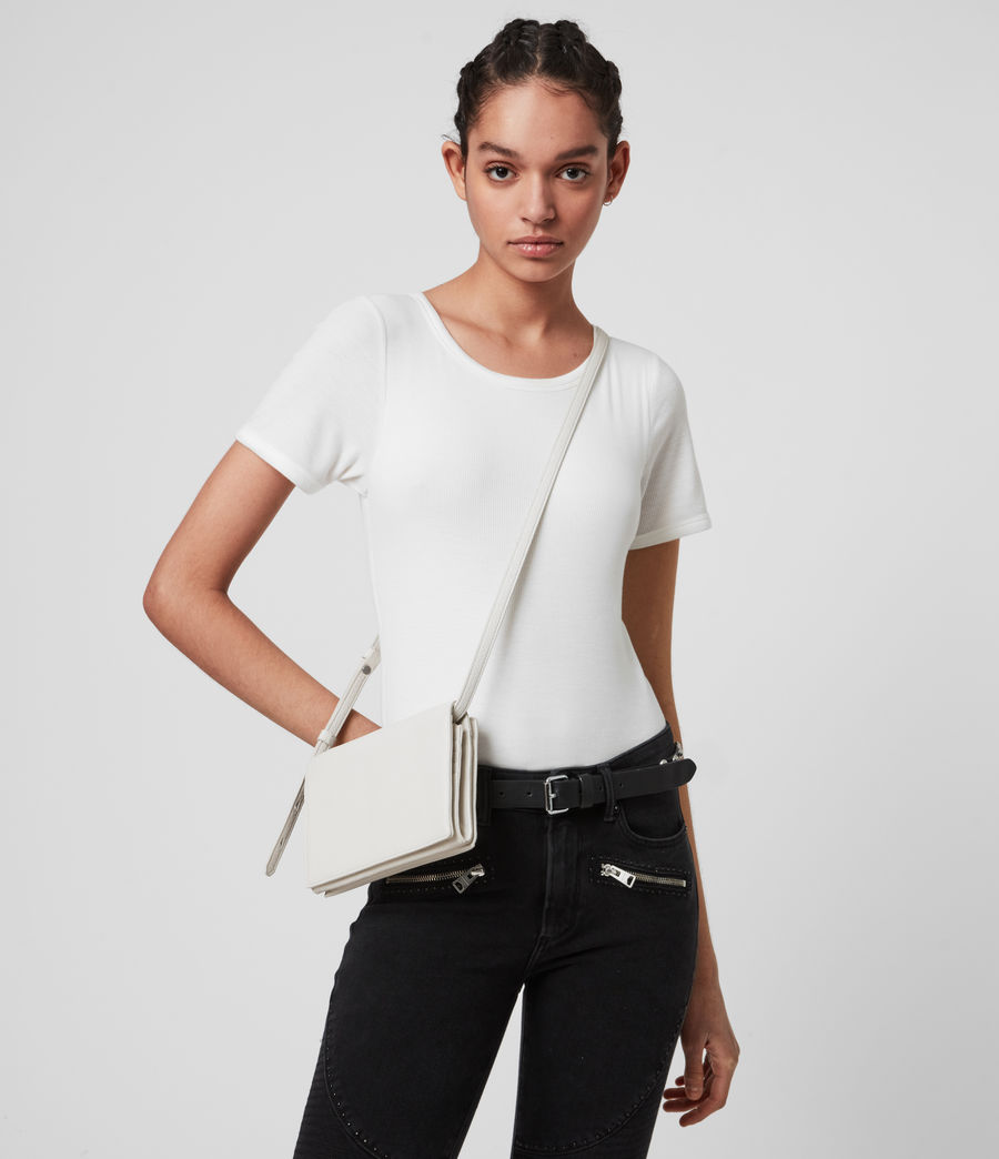 Womens Fetch Chain Leather Crossbody Bag (chalk_white) - Image 1