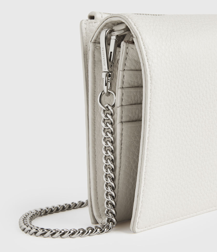 Womens Fetch Chain Leather Crossbody Bag (chalk_white) - Image 5