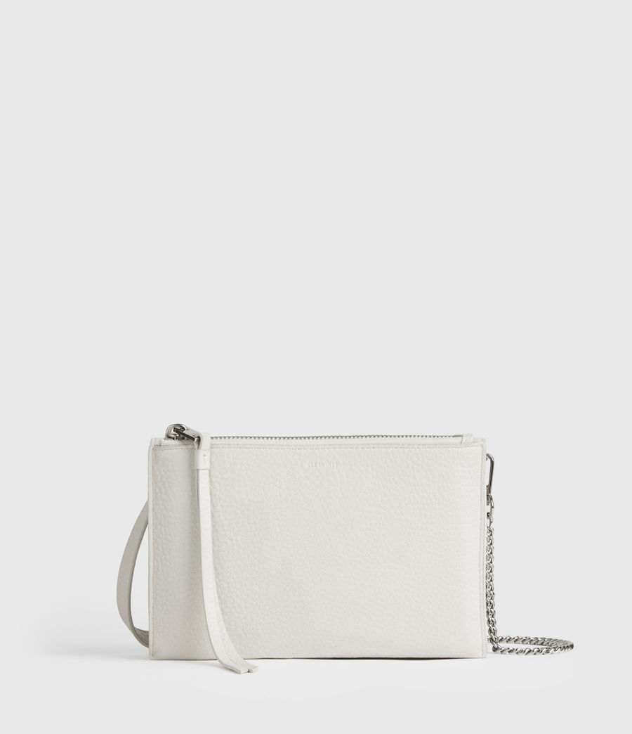 Womens Fetch Chain Leather Crossbody Bag (chalk_white) - Image 6