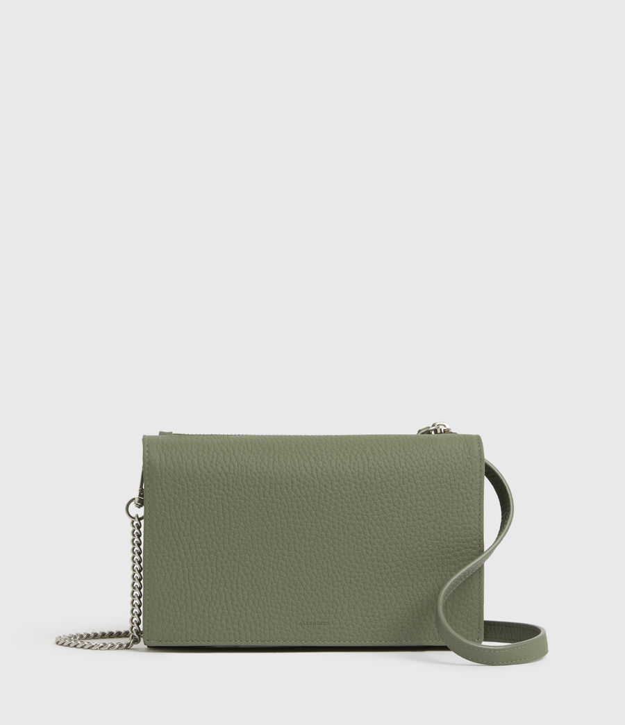 Womens Fetch Chain Leather Wallet Crossbody Bag (sage_green) - Image 1