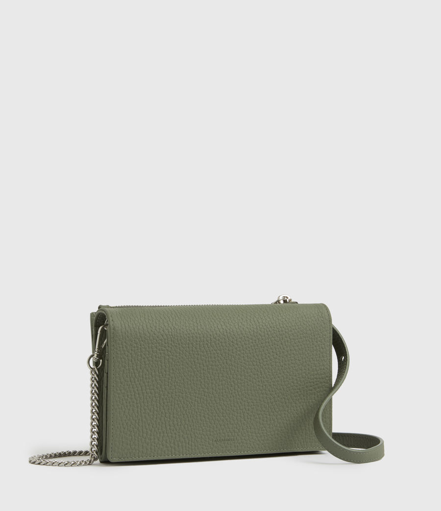 Womens Fetch Chain Leather Wallet Crossbody Bag (sage_green) - Image 3