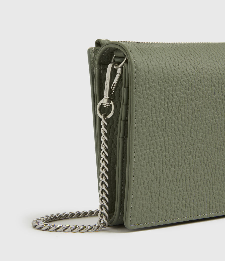 Womens Fetch Chain Leather Wallet Crossbody Bag (sage_green) - Image 5