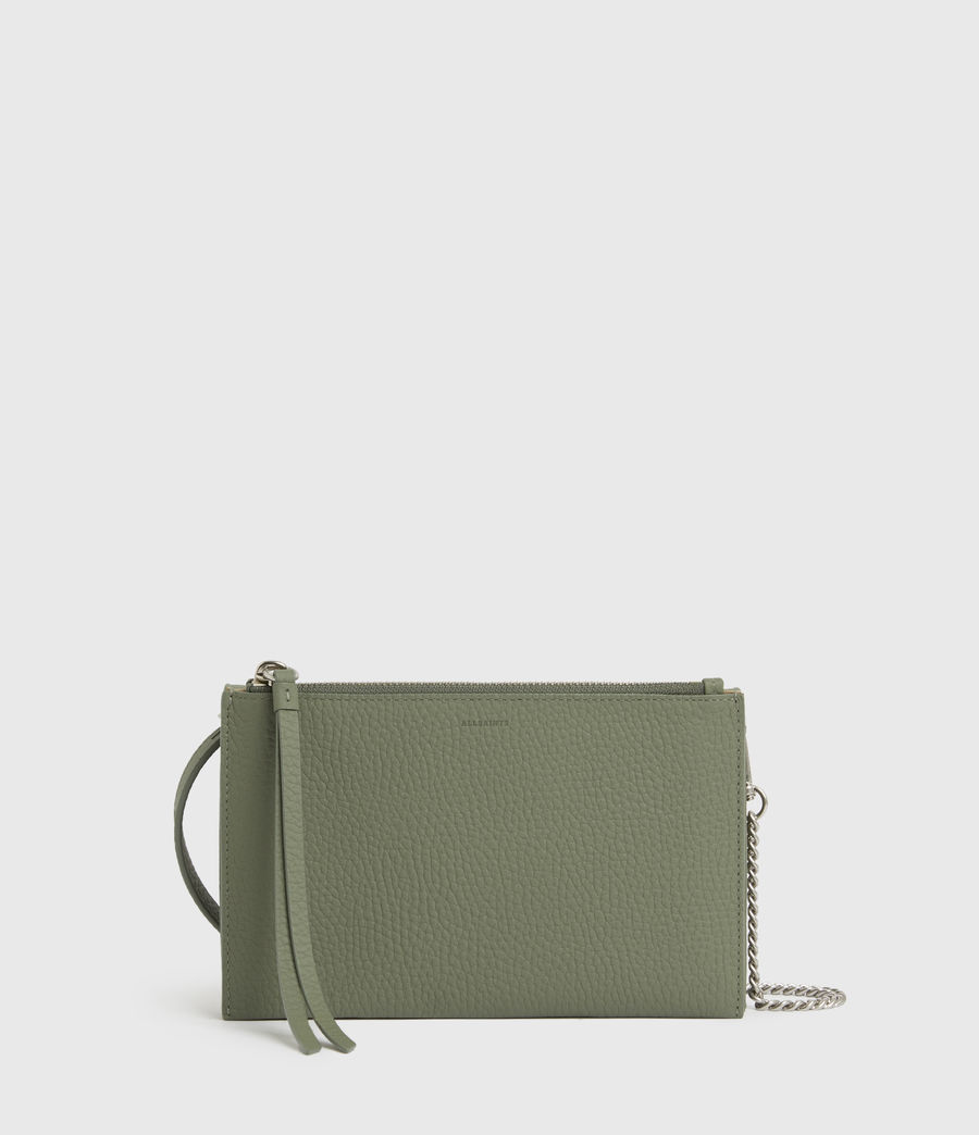 Womens Fetch Chain Leather Wallet Crossbody Bag (sage_green) - Image 6