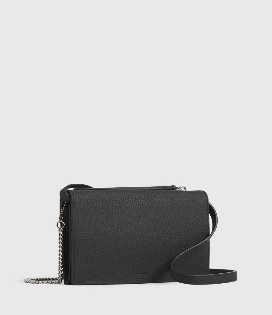Womens Fetch Leather Chain Crossbody Bag (black) - Image 3