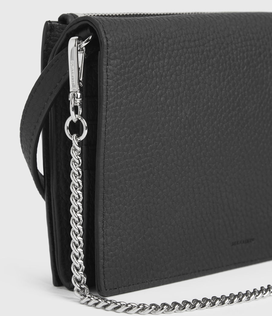 Womens Fetch Leather Chain Crossbody Bag (black) - Image 5