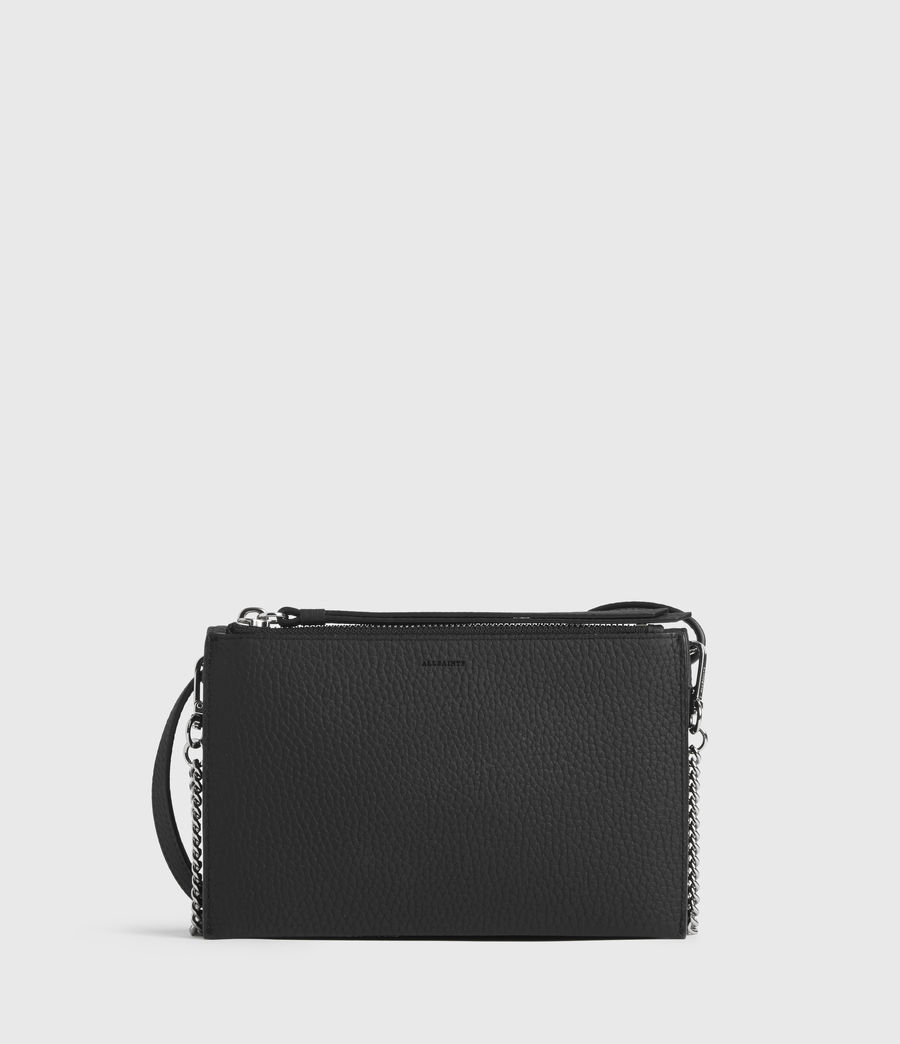 Womens Fetch Leather Chain Crossbody Bag (black) - Image 7