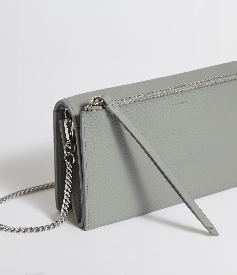 Womens Fetch Leather Chain Crossbody Bag (blue_grey) - Image 5