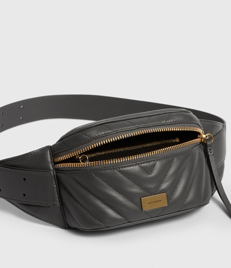 Women's Justine Leather Bumbag (graphite_grey) - Image 5
