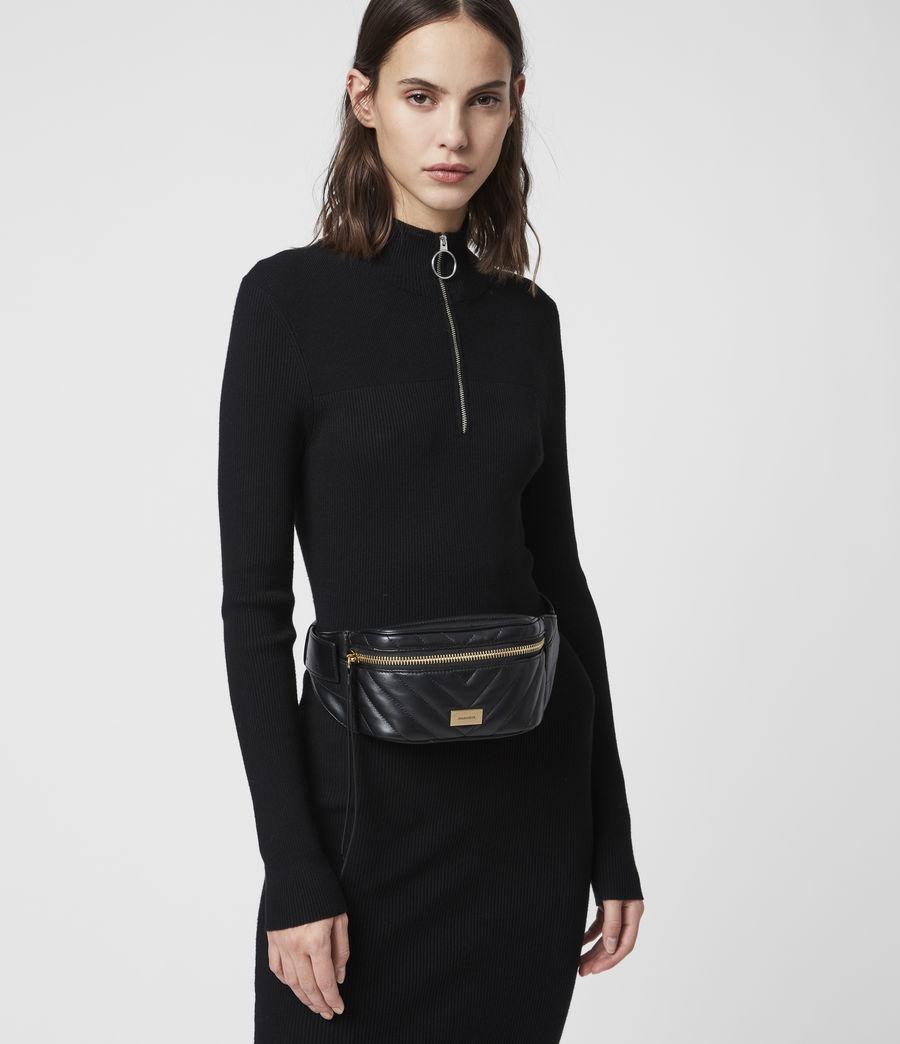 Womens Justine Leather Bumbag (black) - Image 2