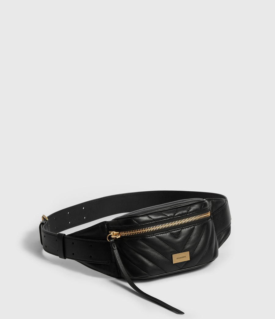 Womens Justine Leather Bumbag (black) - Image 3