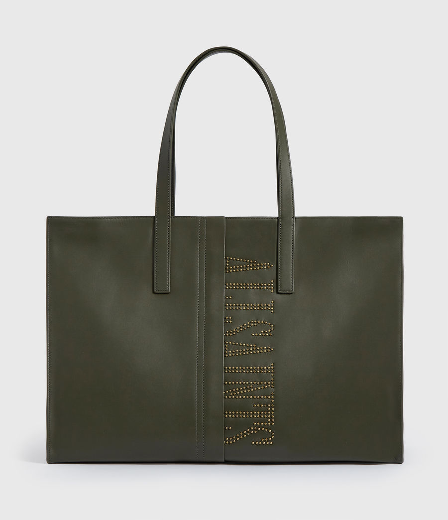 Womens Nina Stud East West Leather Tote Bag (khaki_green) - Image 1