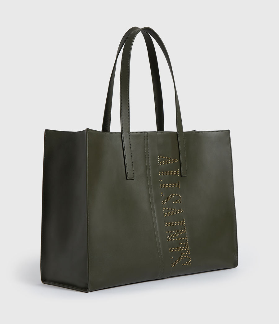 Womens Nina Stud East West Leather Tote Bag (khaki_green) - Image 3