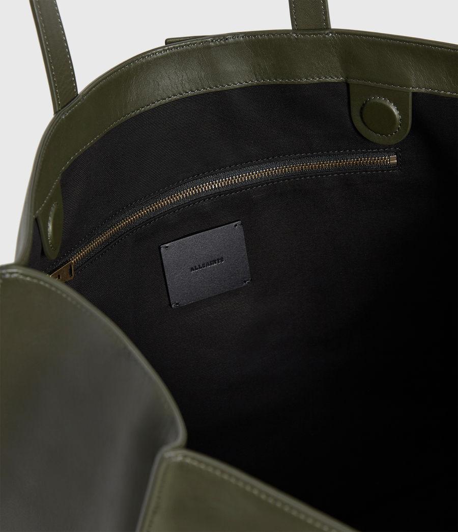 Women's Nina Stud East West Leather Tote Bag (khaki_green) - Image 4