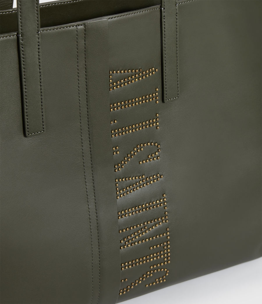 Women's Nina Stud East West Leather Tote Bag (khaki_green) - Image 5