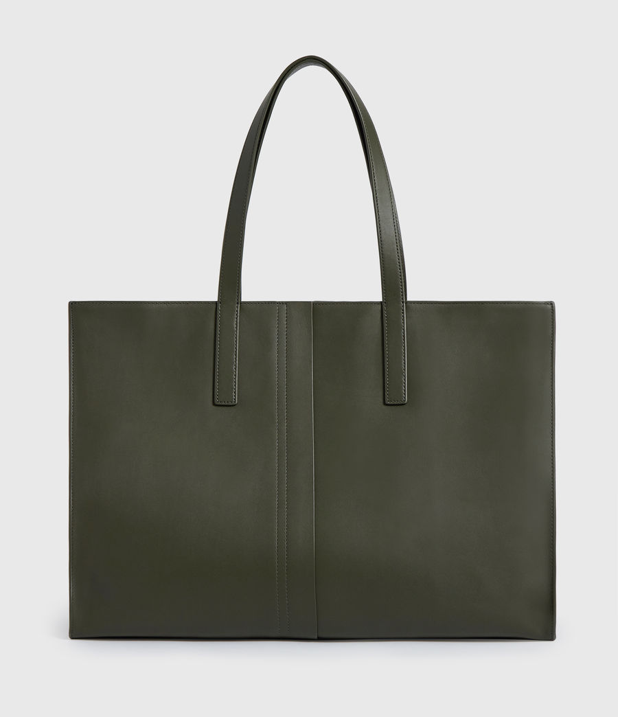 Womens Nina Stud East West Leather Tote Bag (khaki_green) - Image 7