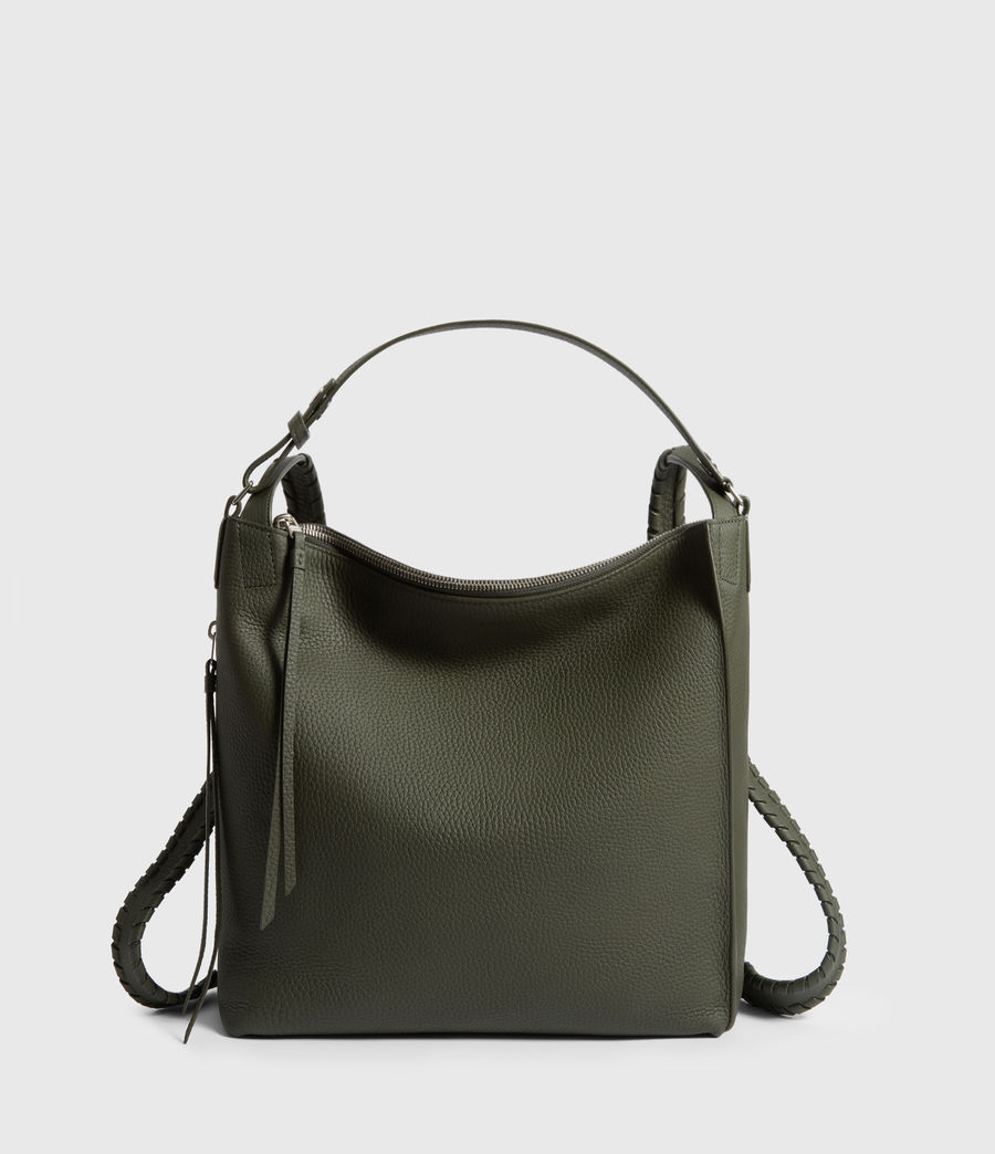 Womens Kita Small Leather Backpack (khaki_green) - Image 1