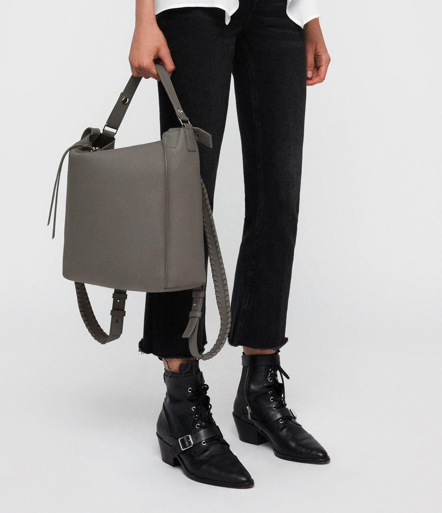 Women's Kita Leather Small Backpack (storm_grey) - Image 3