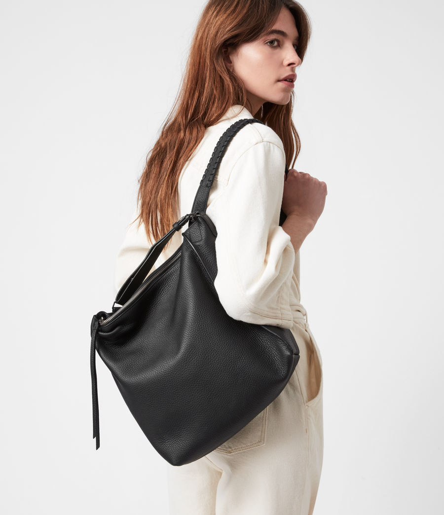 Women's Kita Small Leather Backpack (black) - Image 2