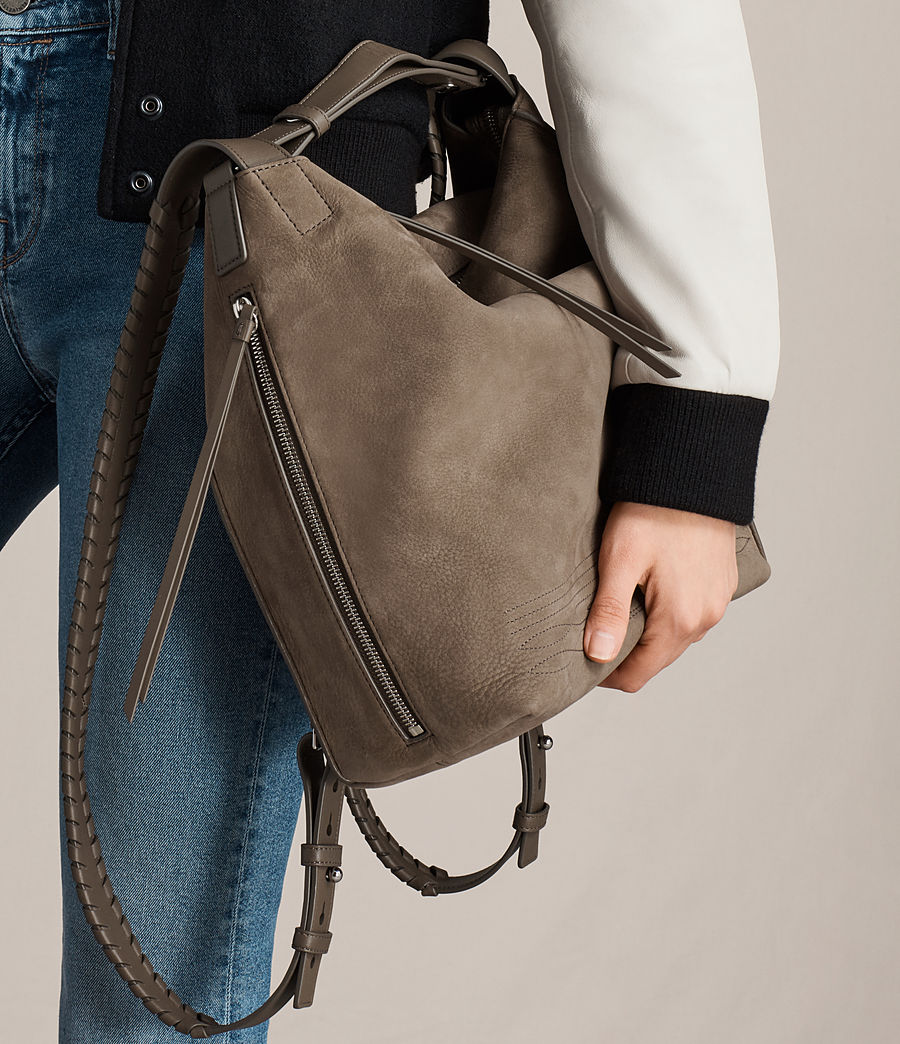 Womens Cooper Small Leather Backpack (ash_grey) - Image 2