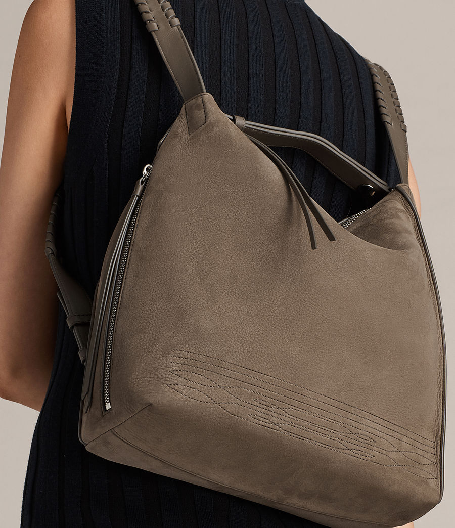 Womens Cooper Small Leather Backpack (ash_grey) - Image 3