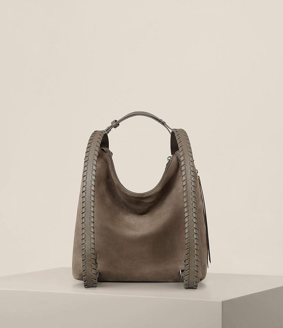 Womens Cooper Small Leather Backpack (ash_grey) - Image 8