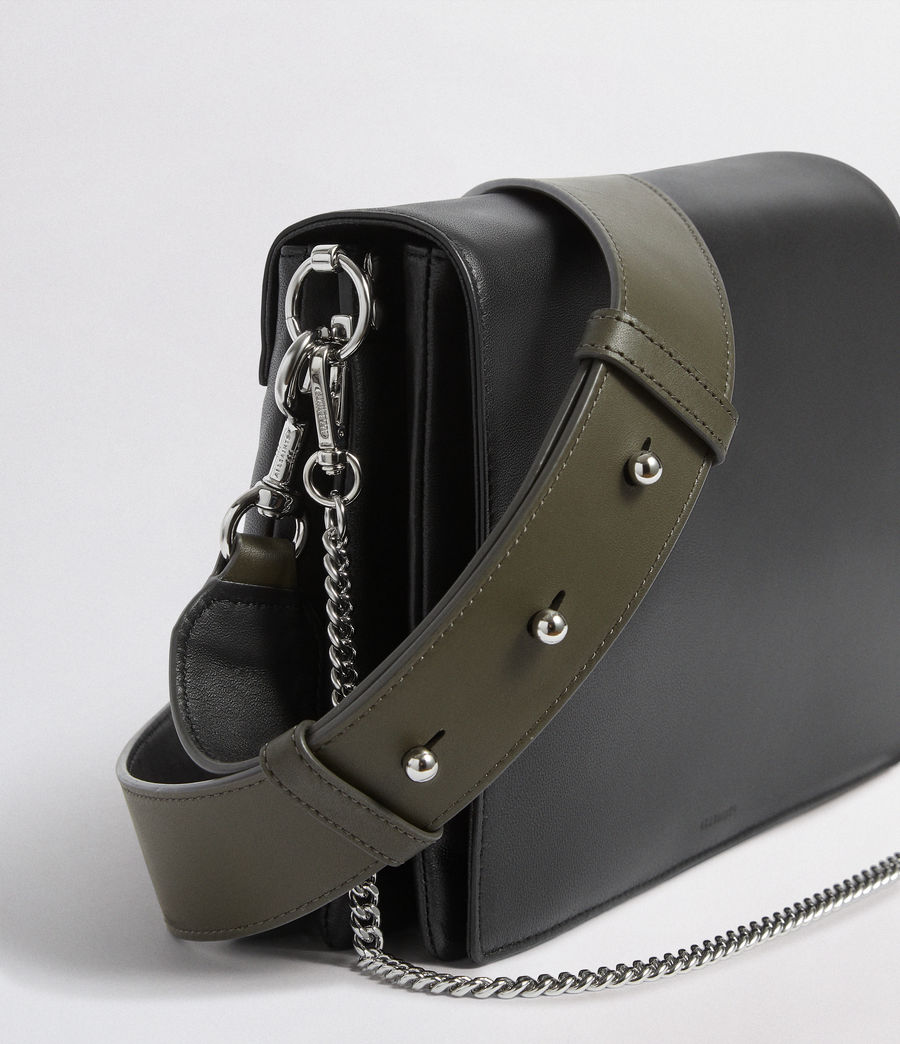 Womens Zep Leather Box Bag (black) - Image 4