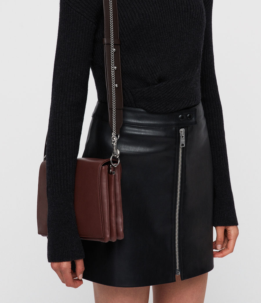 Mujer Zep Leather Box Bag (port_burgdy_oxbloo) - Image 2