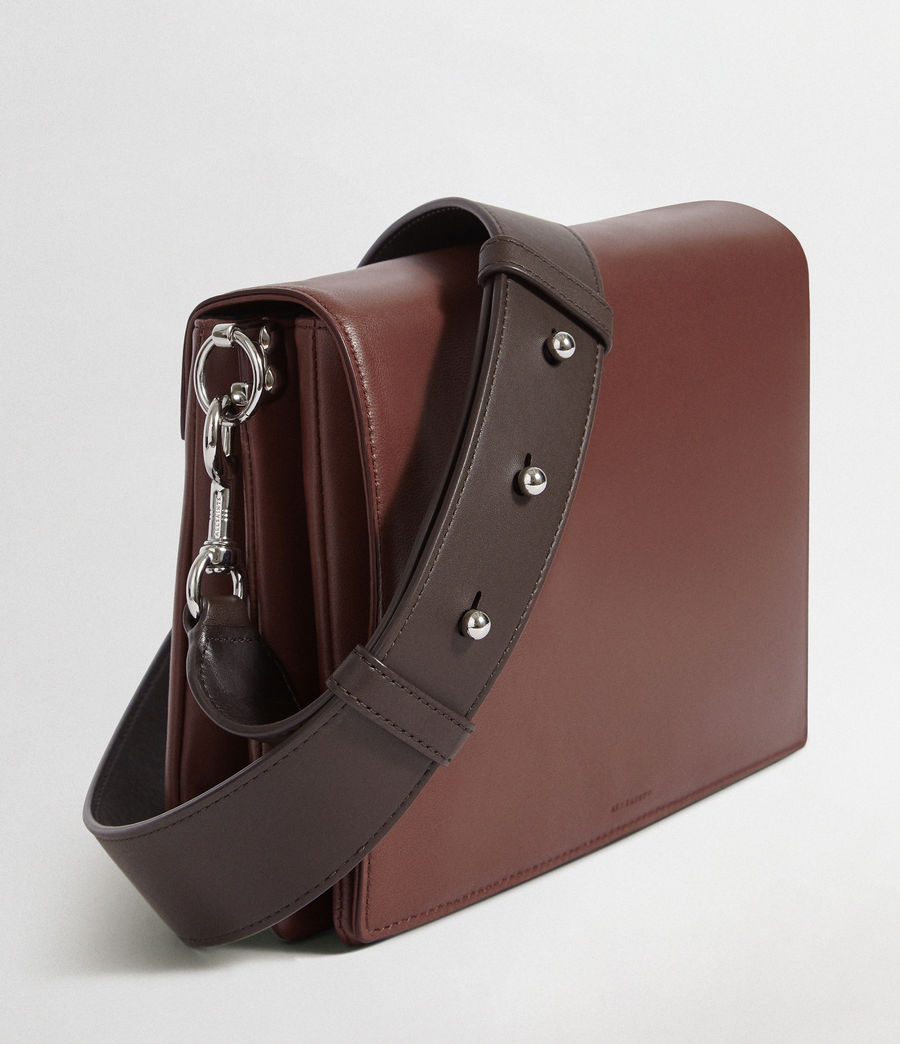 Womens Zep Leather Box Bag (port_burgdy_oxbloo) - Image 3